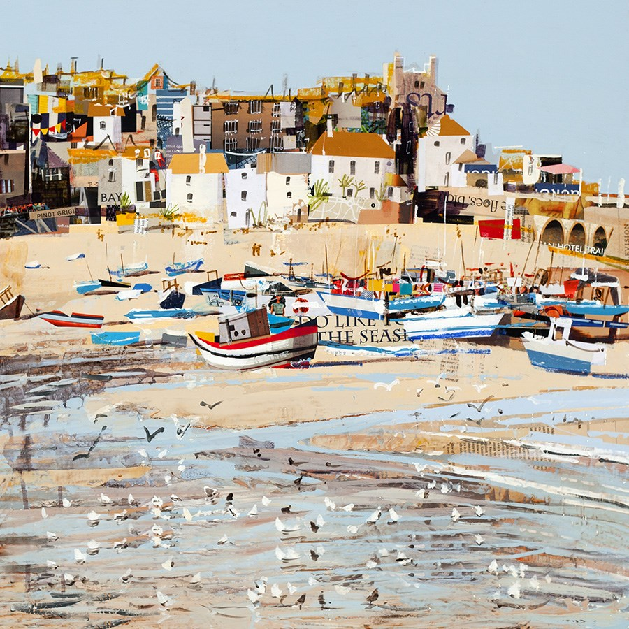 Low Tide, St Ives Bay by Tom Butler - Hand Finished Limited Edition on Paper sized 16x16 inches. Available from Whitewall Galleries